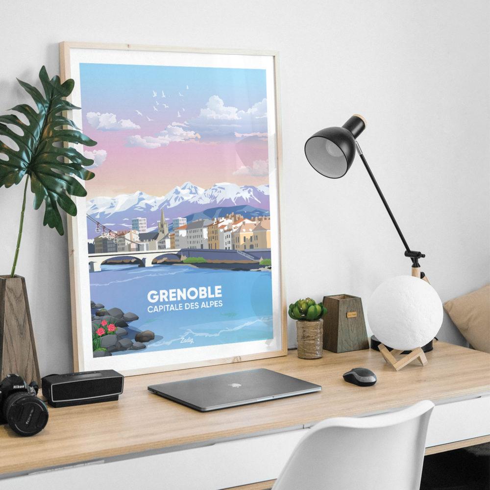 Affiche - Poster GRENOBLE ISERE Desk