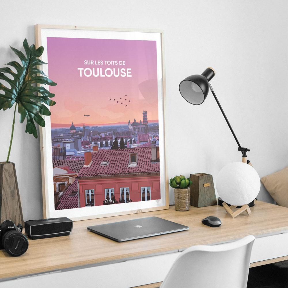 Affiche - Poster TOULOUSE toits Desk
