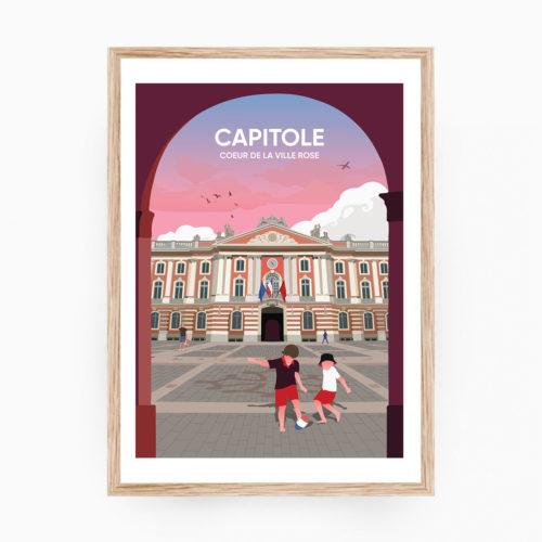 TOULOUSE Capitole Affiche Cadre Bois
