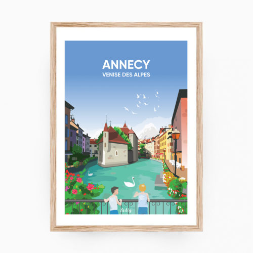 ANNECY Canaux Affiche Cadre Bois