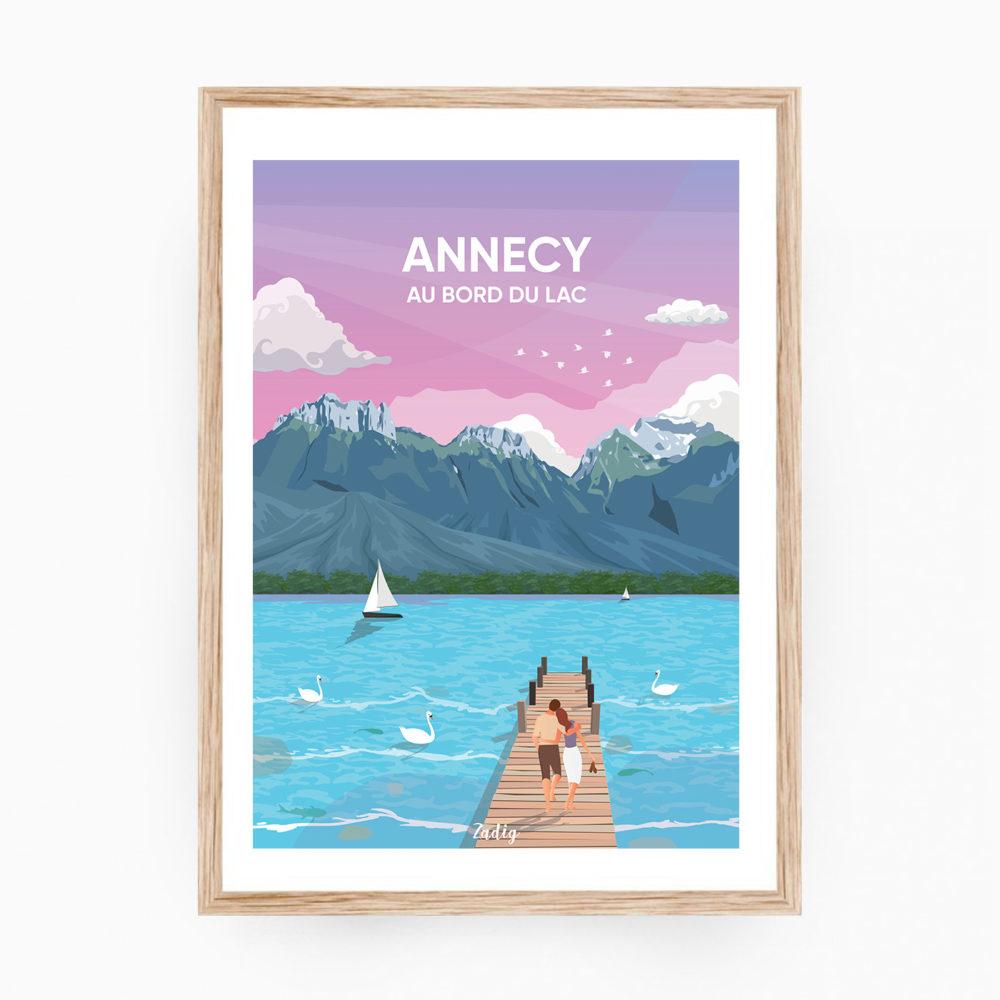 ANNECY Lac Affiche Cadre Bois