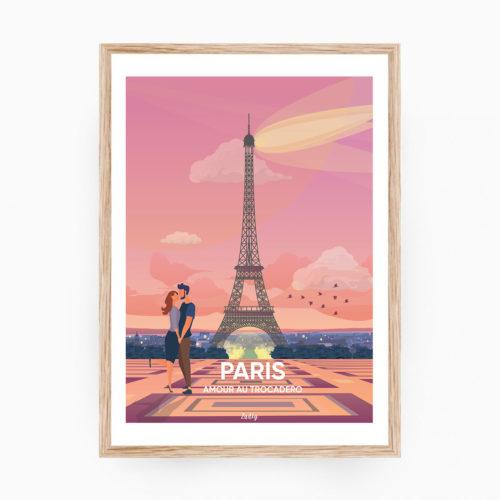 PARIS Affiche Cadre Bois